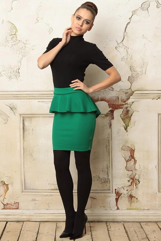 зеленая юбка карандаш с баской
