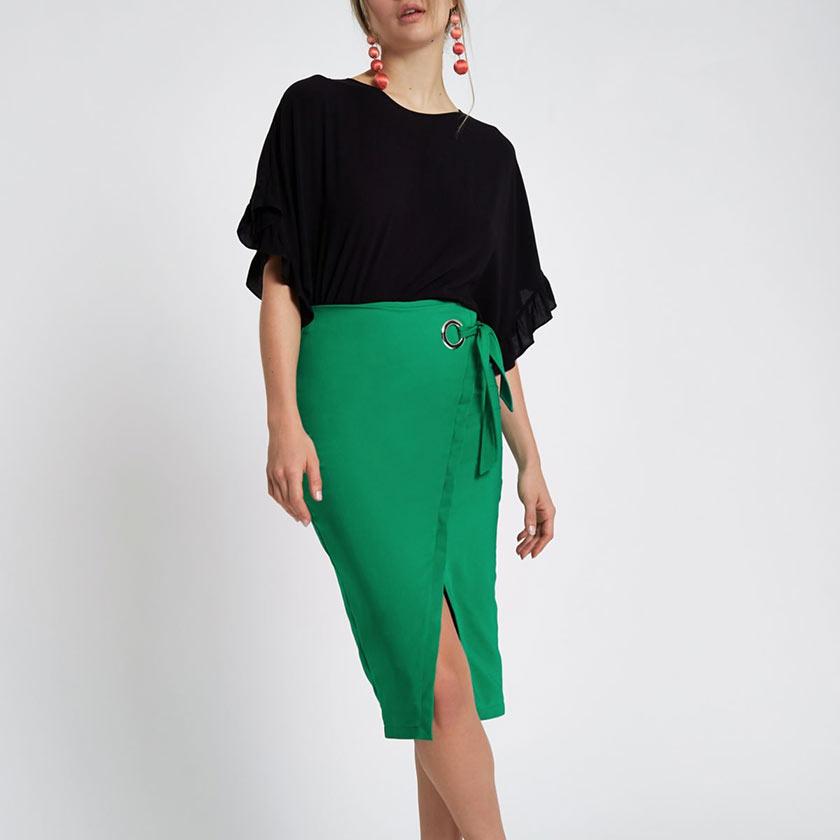 зеленая юбка карандаш с запахом
