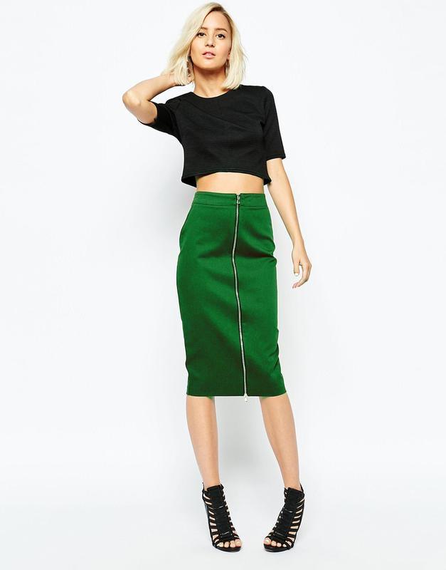 зеленая юбка карандаш с молнией