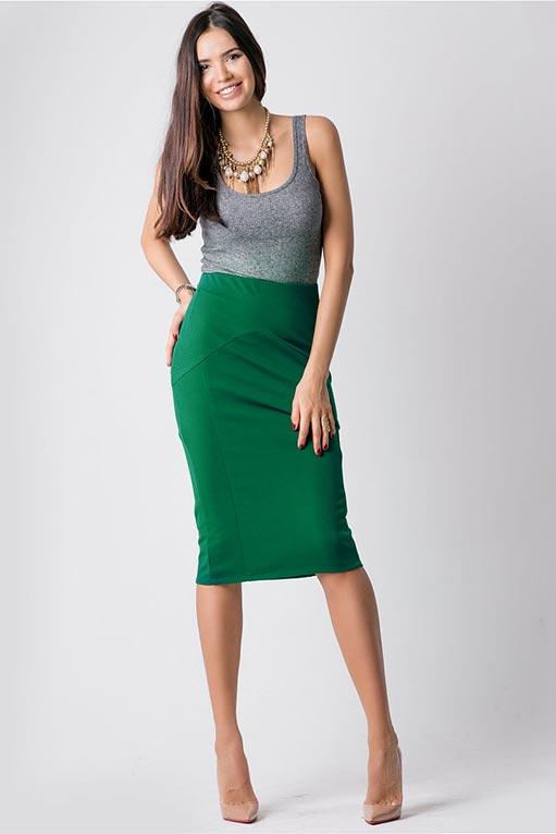 зеленая юбка с серым верхом