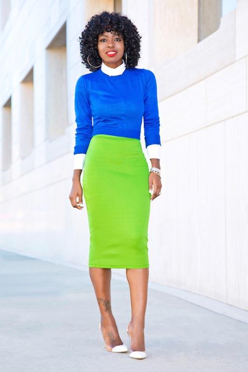 салатовая юбка карандаш