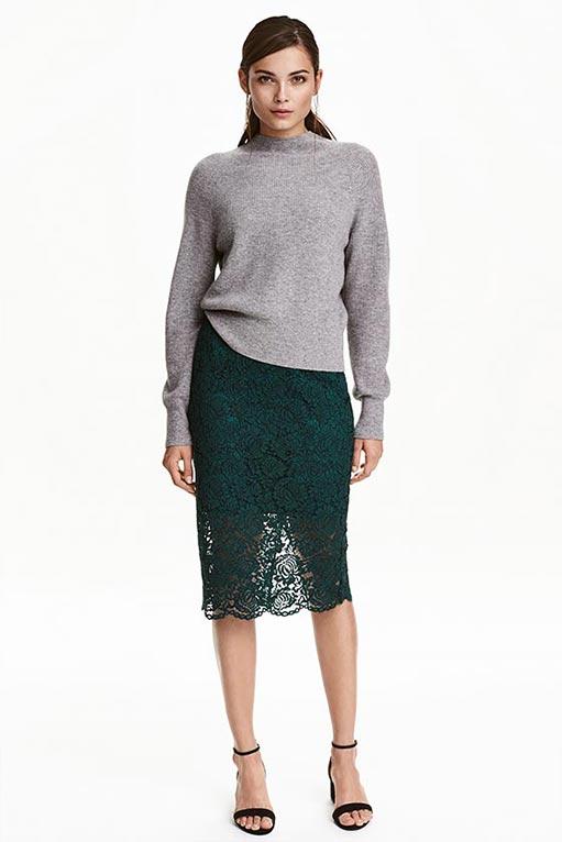 темно зеленая юбка карандаш с серым верхом