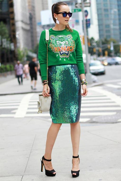 зеленая юбка карандаш с пайетками