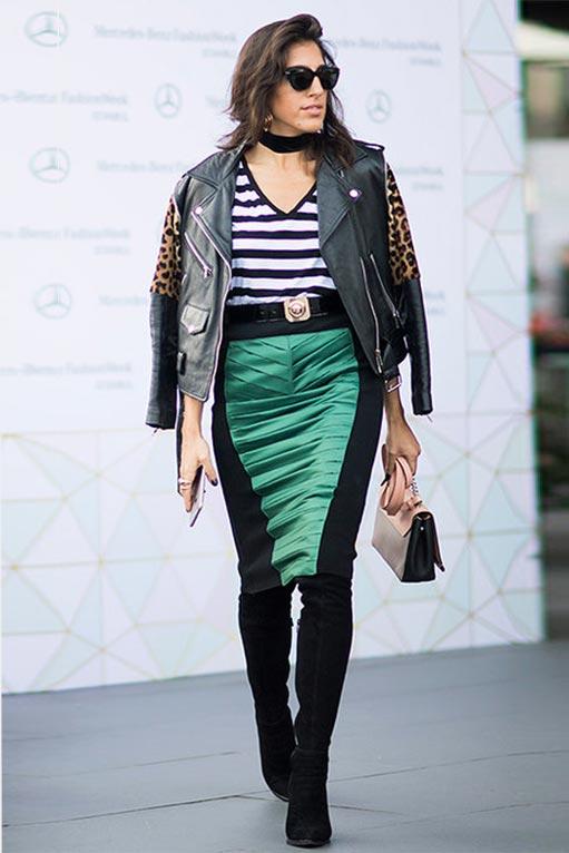 комбинированная атласная юбка карандаш