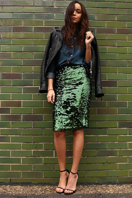 юбка с пайетками зеленого цвета
