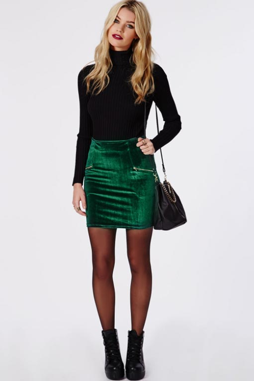 зеленая юбка из бархата