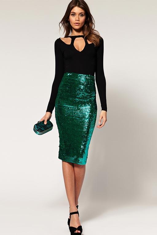 зеленая юбка карандаш с пайетками, блестками