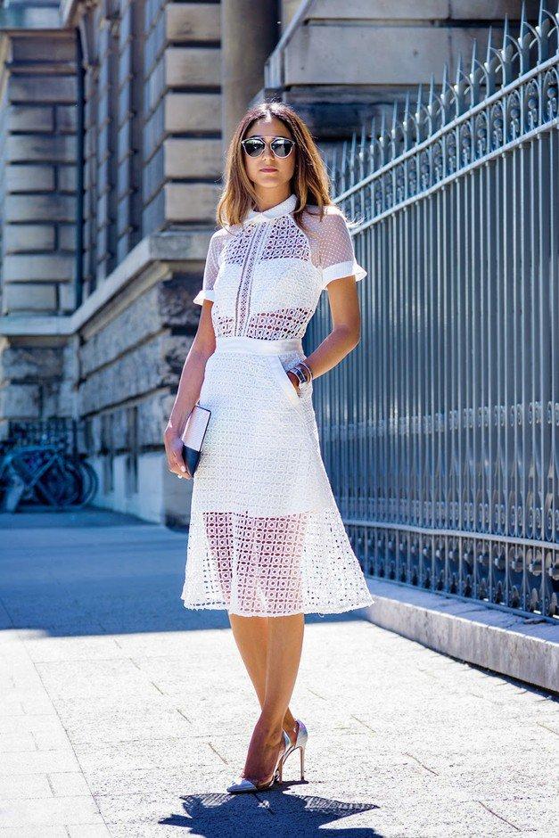 образ в белом цвете с кружевным платьем