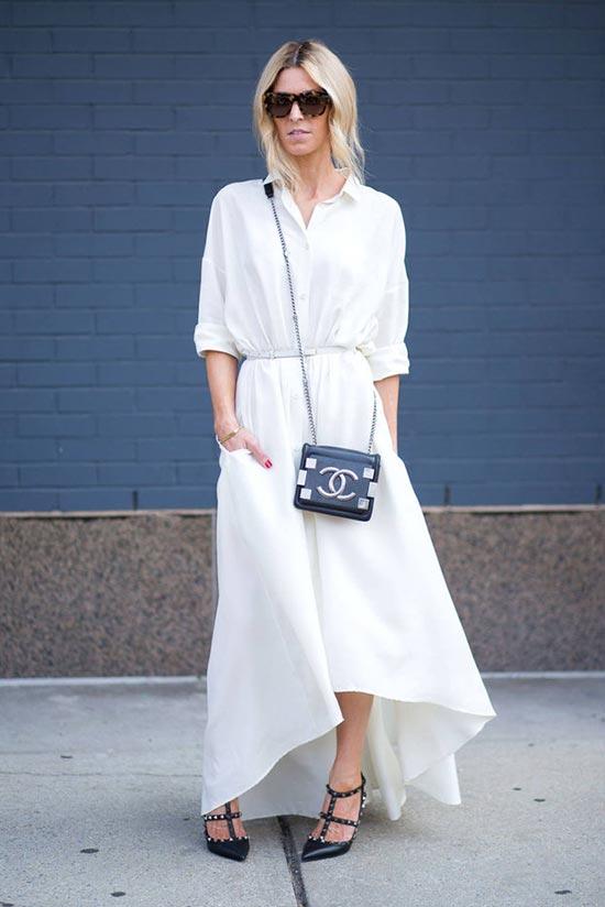 тотал лук в белом цвете с юбкой и блузкой