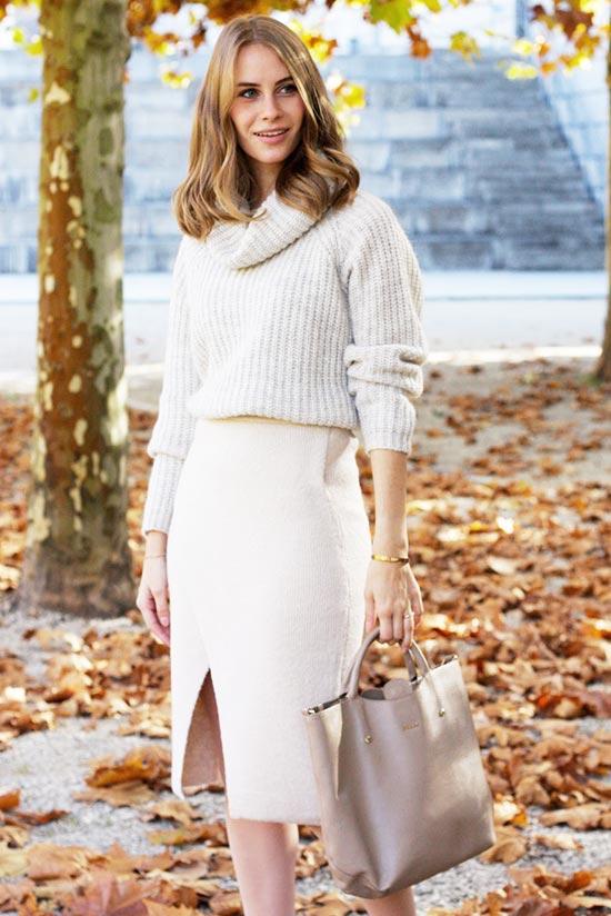 юбка карандаш в белом тотал луке