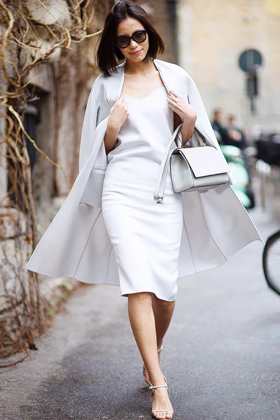 платье футляр в аутфите в белом тотал луке