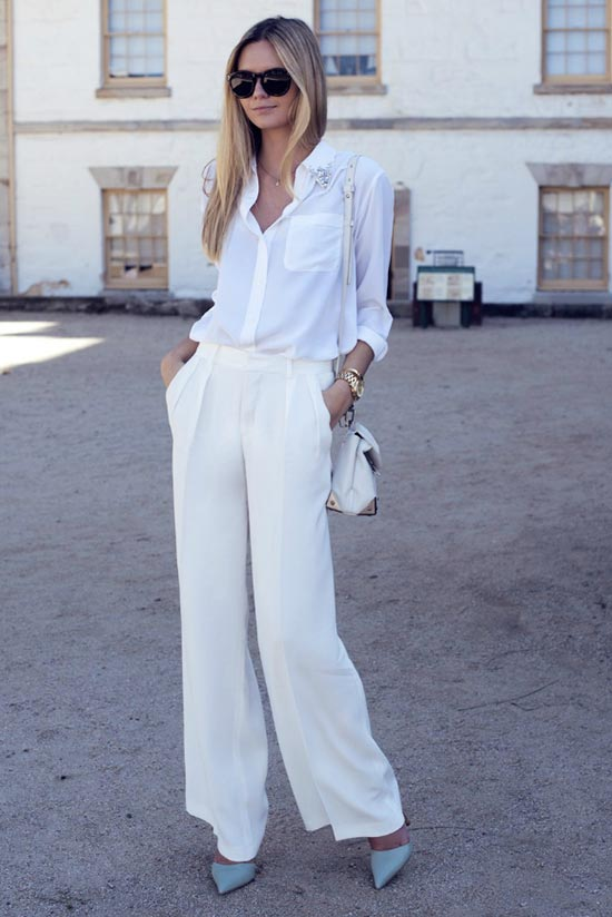 белые брюки палаццо в белом тотал луке