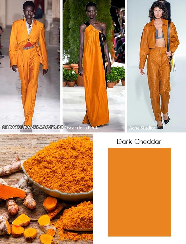 Dark Cheddar (Темный чеддер) - модный цвет осень зима 2019 2020