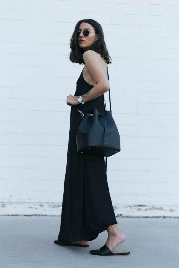длинное летнее черное платье