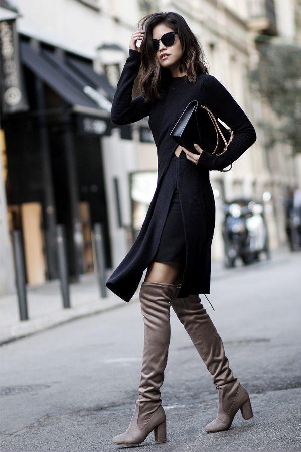 осеннее платье из плотной черноей ткани