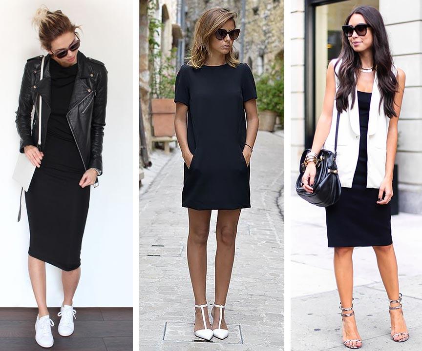 черное платье с белыми аксессуарами