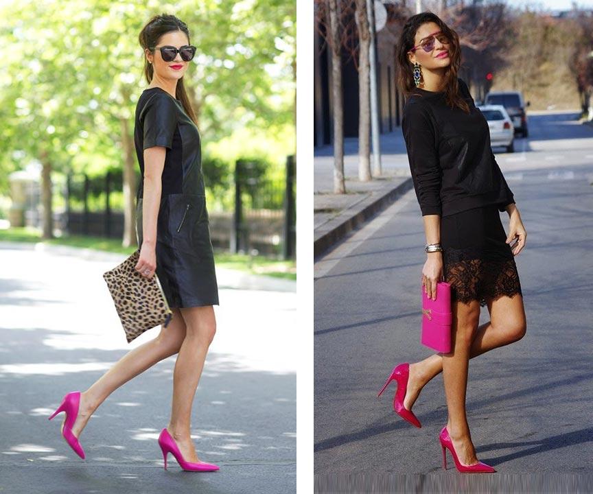 с розовыми туфлями