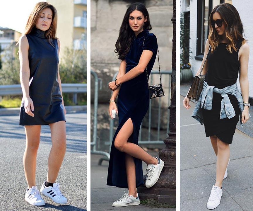 черное платьем с белыми кедами