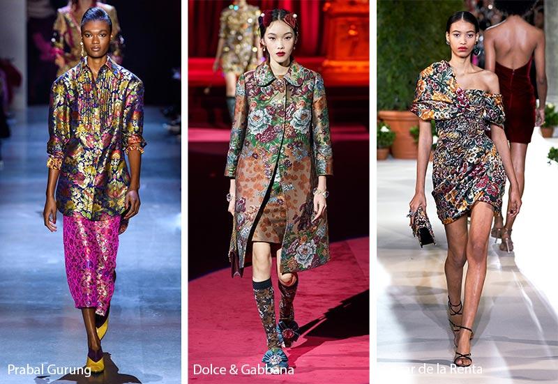 Модные принты осень-зима 2019-2020: жаккард и парча