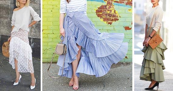 длинная юбка с рюшами - как носить