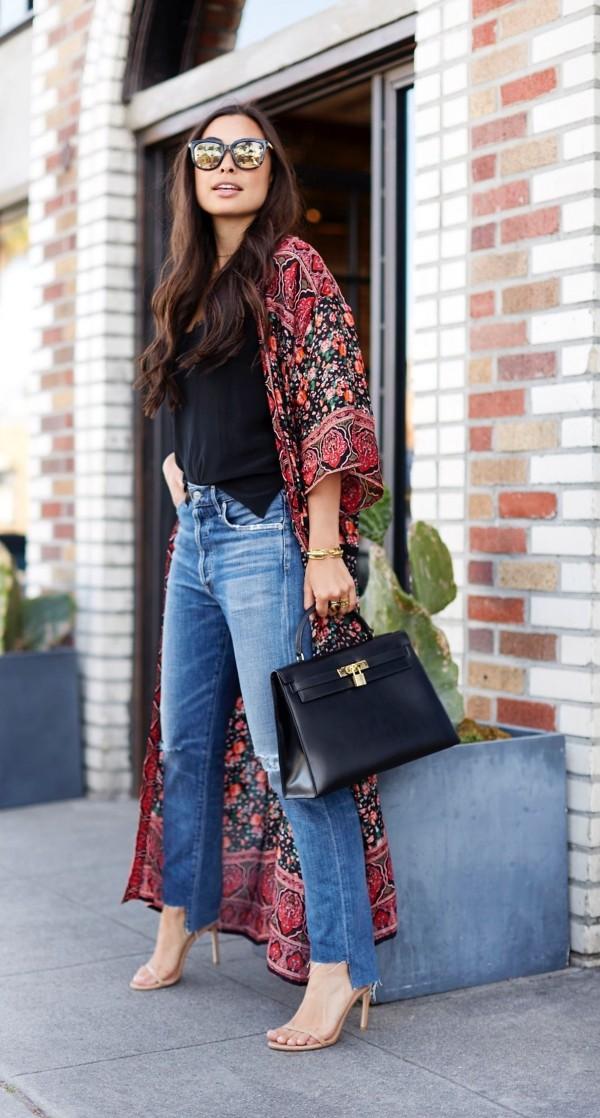 халат кимоно с джинсами
