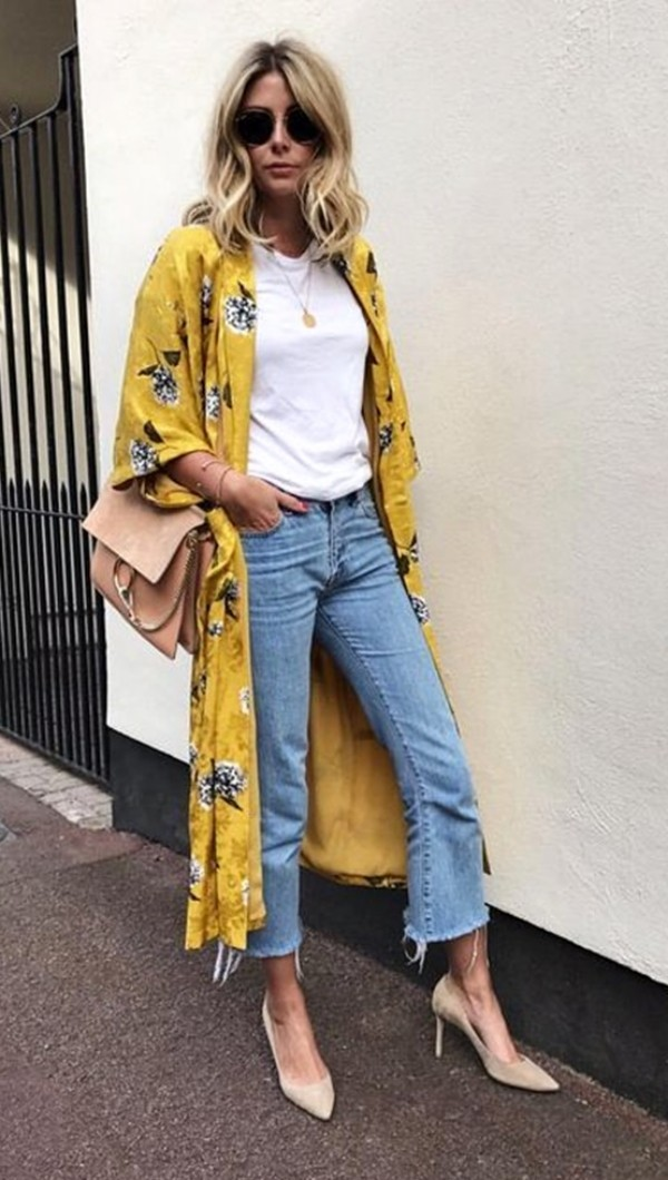 горчичное платье халат кимоно