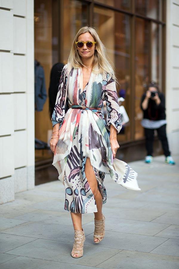 кимоно как платье в повседневных образах