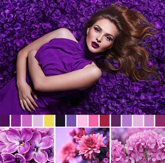 фиолетовый цвет в одежде - палитры