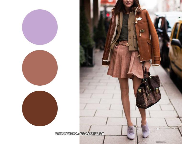 сиреневый в сочетании с оттенками коричневого - cочетания цветов в одежде для осени