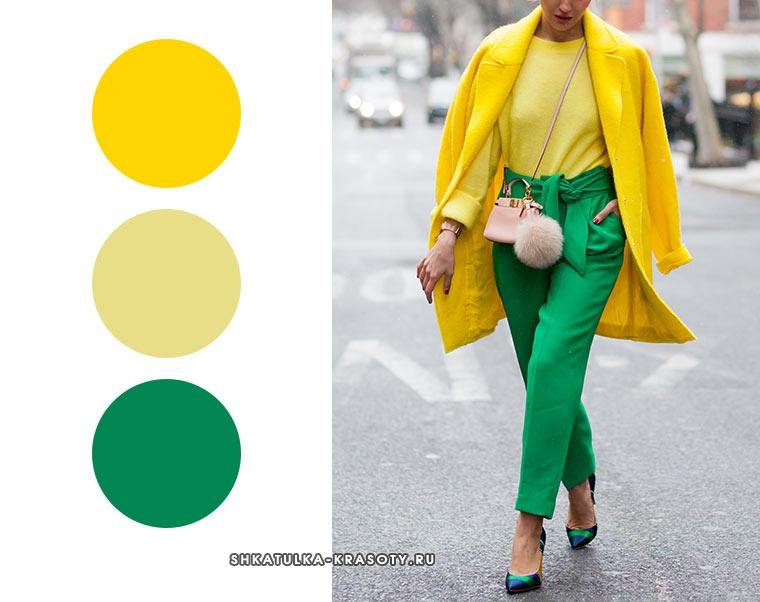 сочетание для зимы желтый и зеленый