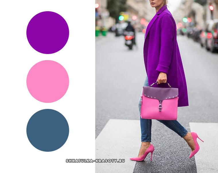сочетание для зимы фиолетового и розового