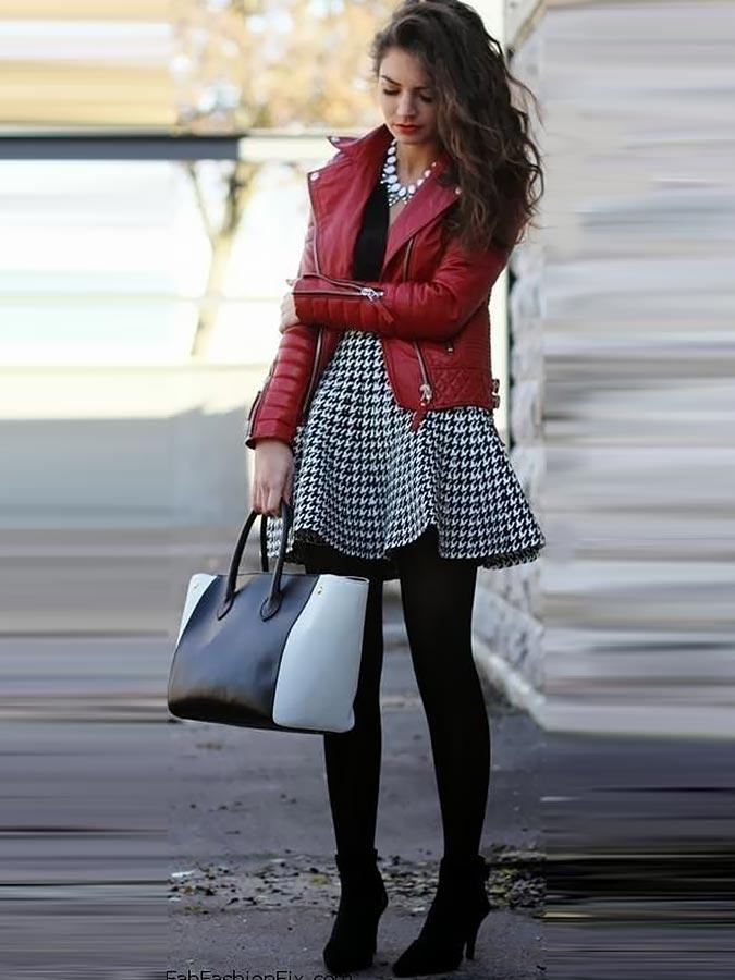 нарядный образ с бордовой курткой