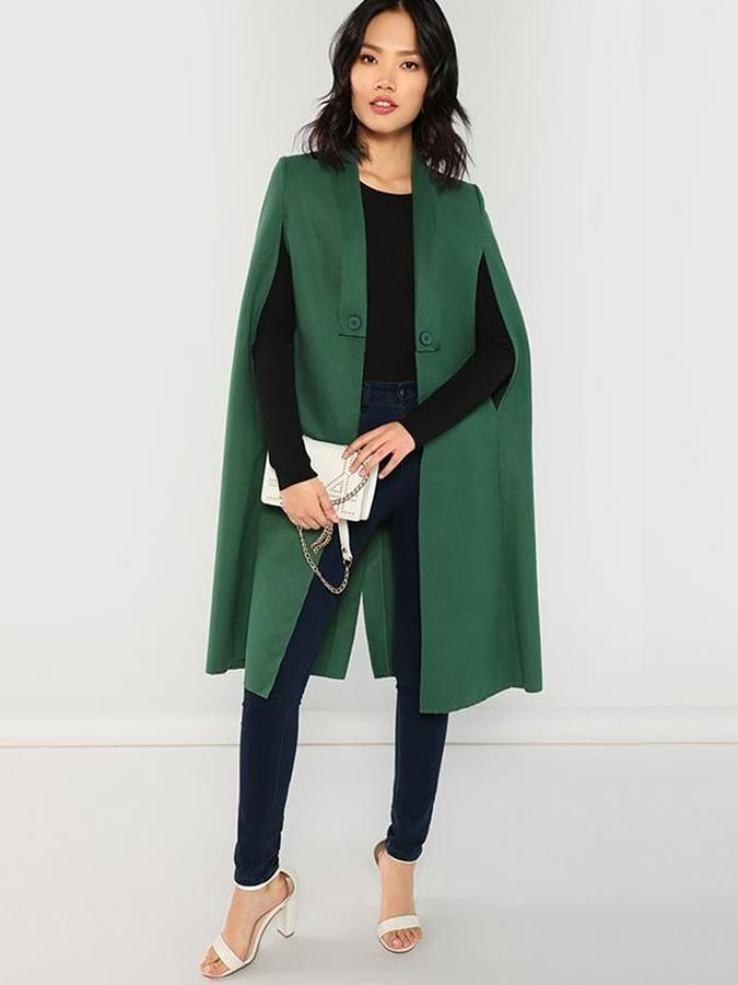 зеленое пальто кейп