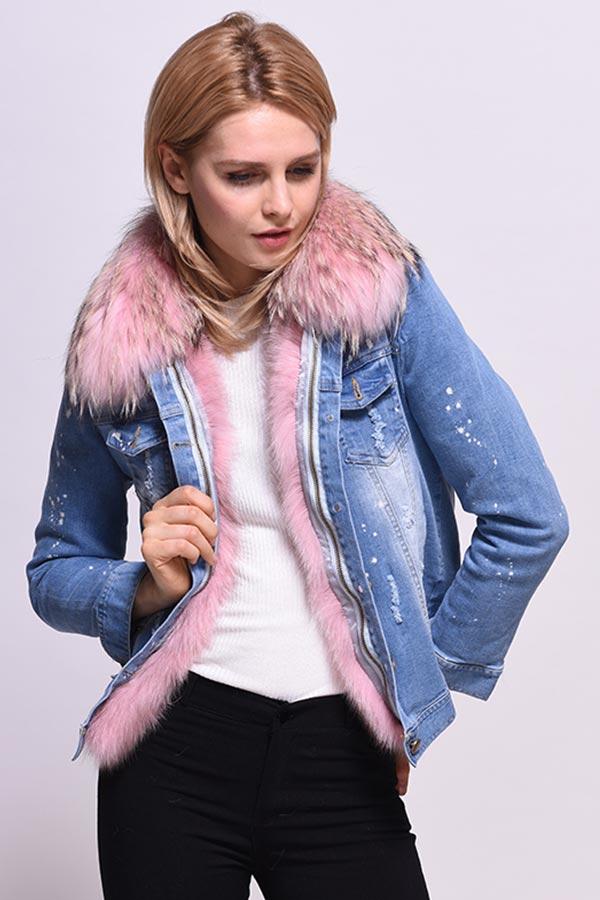 модель куртки с розовой отделкой