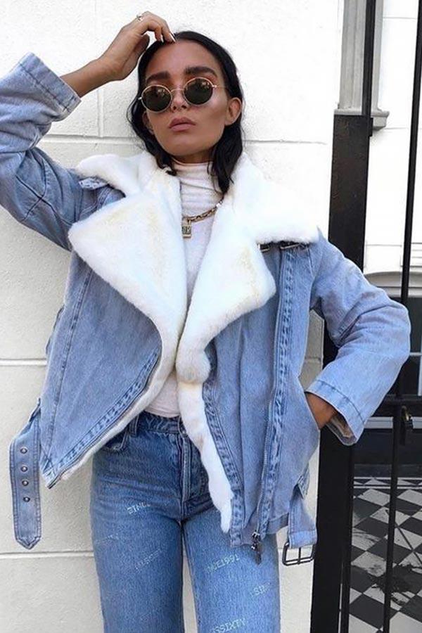 джинсовая куртка оверсайз с меховой отделкой