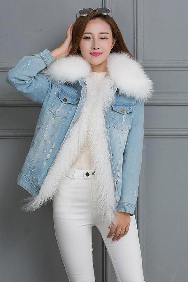 джинсовая куртка с мехом из соболя