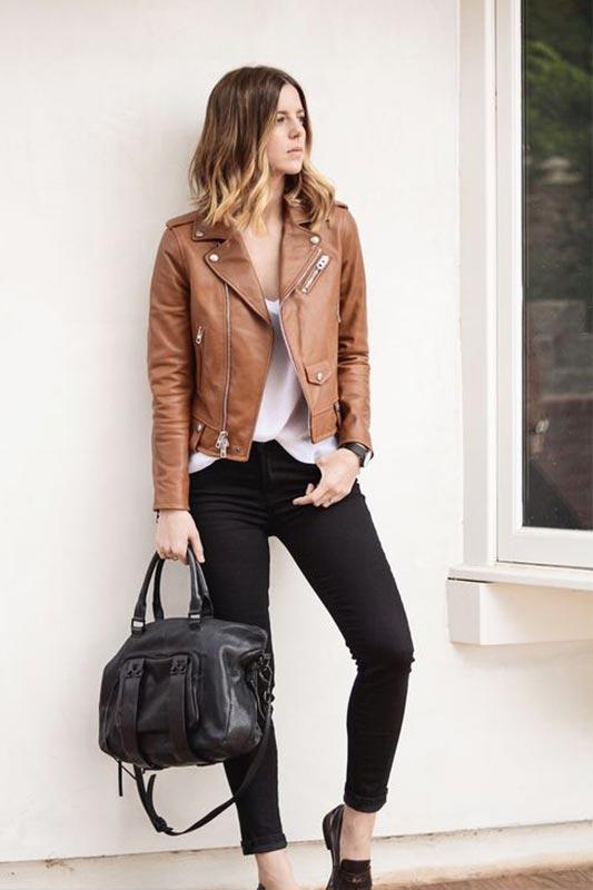 коричневая кожаная куртка - с чем носить