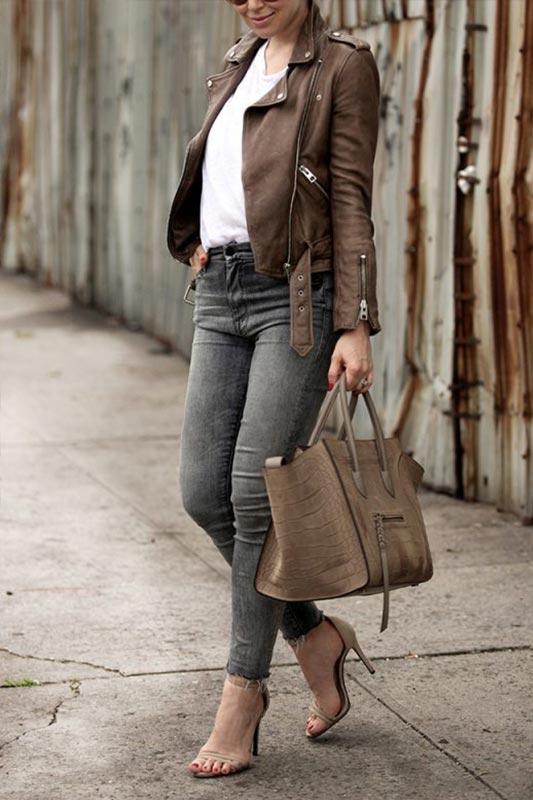 образ с коричневой курткой и объемной сумкой