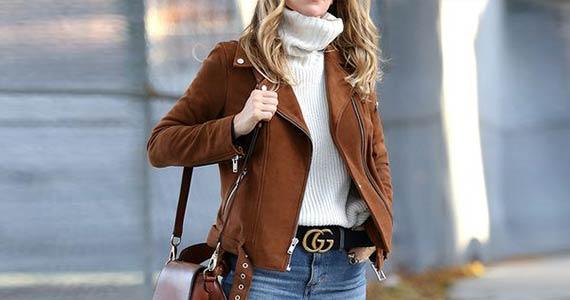 коричневая кожаная куртка с чем носить