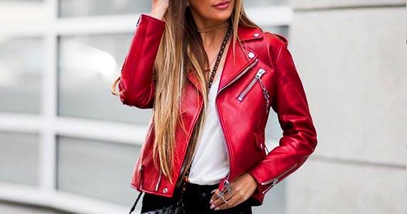 красная кожаная куртка - образы