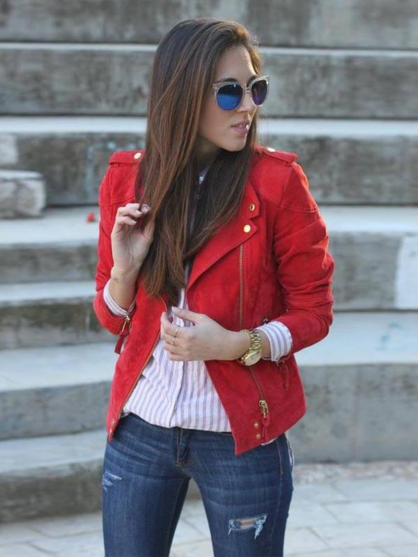 красная кожаная куртка прямого кроя