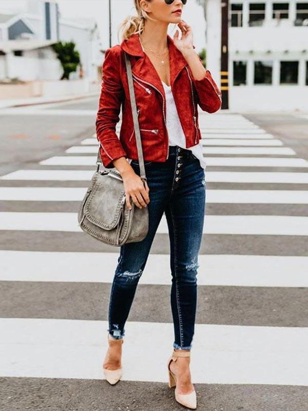 красная кожаная куртка укороченная