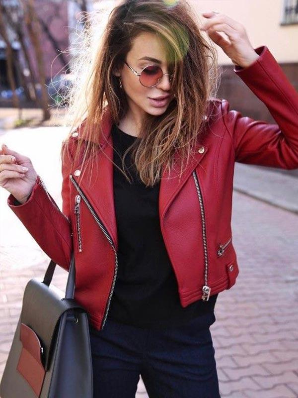красная кожаная куртка - с чем носить