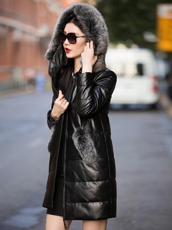 зимняя кожаная куртка пуховик с мехом