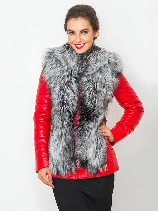красная зимняя кожаная куртка с мехом