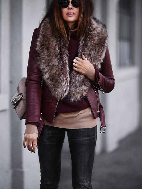 бордовая зимняя кожаная куртка с мехом