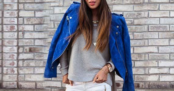 синяя кожаная куртка - с чем носить, образы