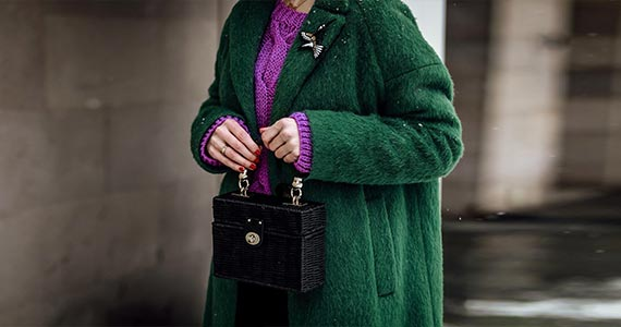зеленое пальто - с чем носить