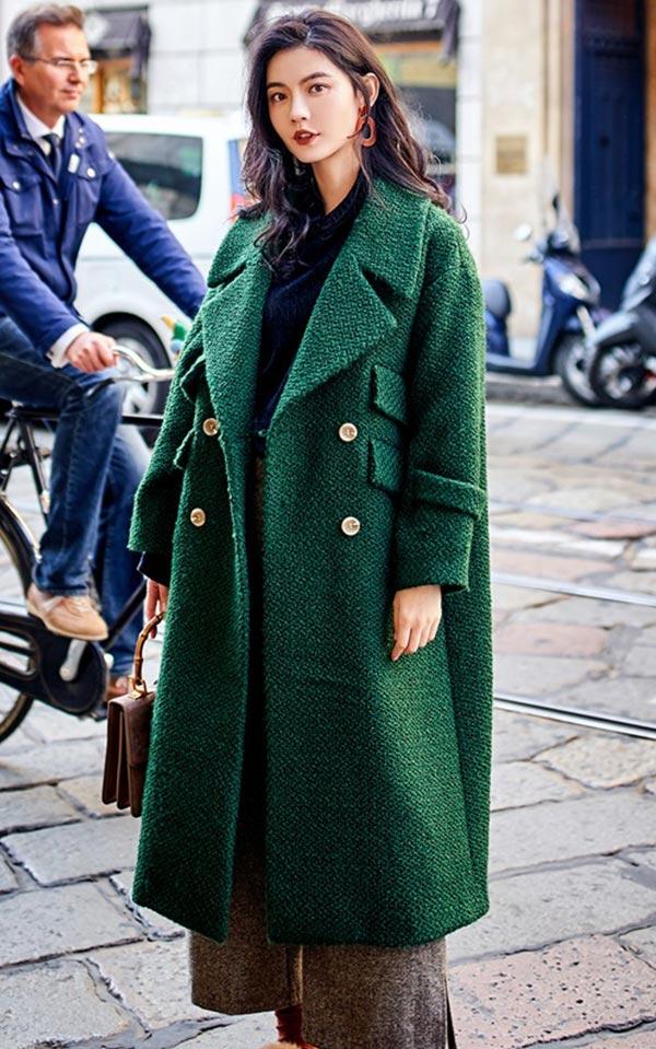 двубортное оверсайз зеленое пальто