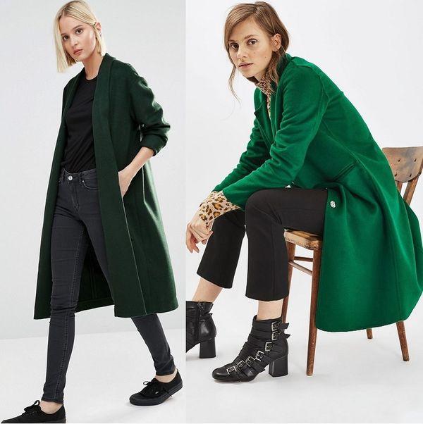 с чем носить зеленое пальто